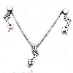 Sterling Silver   Giraffe   Necklace and Earrings with Enamel Set