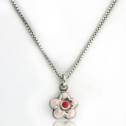 Sterling Silver   Flower   Necklace with Enamel