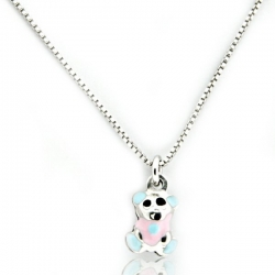 Sterling Silver   Cotton Candy Teddy Bear   Necklace with Enamel