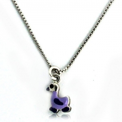 Sterling Silver Enamel   Duckling   Necklace