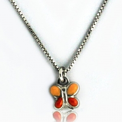 Sterling Silver Enamel   Butterfly   Necklace