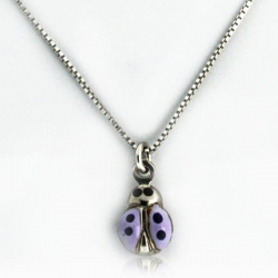 Sterling Silver   Purple Enamel Ladybug   Necklace