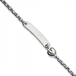Sterling Silver Polished Engraveable Childrens ID with Hearts Bracelet