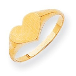 Solid Gold Single Heart Engravable Ring