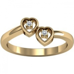 Solid Gold Double Heart Ring W  Diamonds