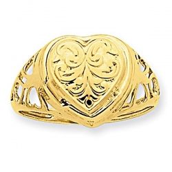 14k Yellow Gold Heart Cartouche Embossed Locket Ring