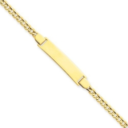 14k Yellow Gold Concave Curb Tween ID Bracelet