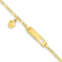 14k Yellow Gold 6 inch Figaro w Dangling Heart Baby Child ID Bracelet