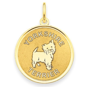 Yorkshire Terrier Disc 14k Gold Charm Or Pendant