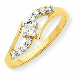 10k Yellow Gold Cubic Zirconia Promise Ring