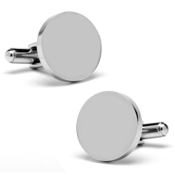 Round Sterling Silver Engravable Cufflinks
