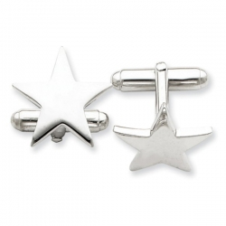 Star Shaped Sterling Silver Engravable Cufflinks
