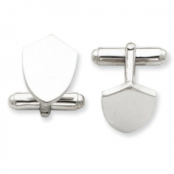 Shield Shaped Sterling Silver Engravable Cufflinks