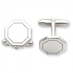 Octagon Shaped Sterling Silver Engravable Cufflinks