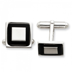 Square Shaped Sterling Silver W  Black Enamel Engravable Cufflinks
