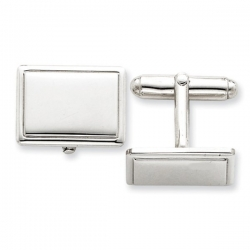 Rectangle Shaped Sterling Silver W  Black Enamel Engravable Cufflinks