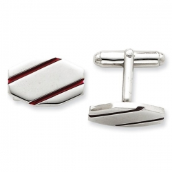Heptagon Shaped Sterling Silver W  Red Enamel Engravable Cufflinks