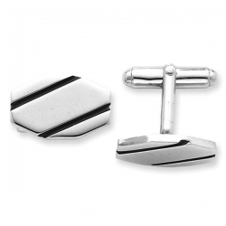 Heptagon Shaped Sterling Silver W  Black Enamel Engravable Cufflinks