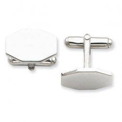 Heptagon Shaped Sterling Silver Engravable Cufflinks