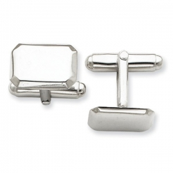 Rectangle Shaped Sterling Silver Engravable Cufflinks