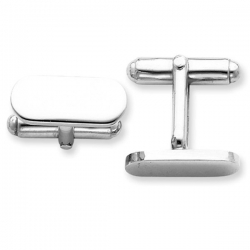 Rounded Rectangle Shaped Sterling Silver Engravable Cufflinks