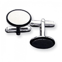 Oval Shaped Sterling Silver W  Black Enamel Engravable Cufflinks