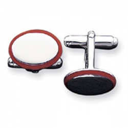 Oval Shaped Sterling Silver W  Red Enamel Engravable Cufflinks