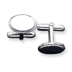 Oval Shaped Sterling Silver Engravable Cufflinks