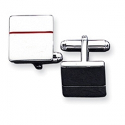 Square Shaped Sterling Silver W  Red Enamel Engravable Cufflinks