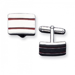 Rectangle Shaped Sterling Silver W  Red Enamel Engravable Cufflinks