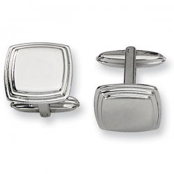 Polished Square Shaped Stainless Steel Engravable Cufflinks