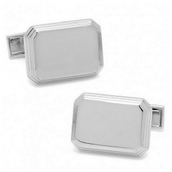 Polished Rectangle Shaped Stainless Steel Engravable Cufflinks