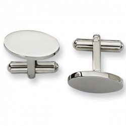 Polished Oval Shaped Stainless Steel Engravable Cufflinks