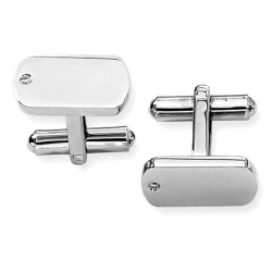 Rectangle Shaped Stainless Steel W  Diamond Engravable Cufflinks