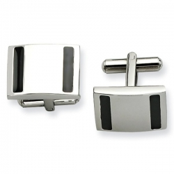 Brushed Rectangle Shaped Stainless Steel Engravable Cufflinks