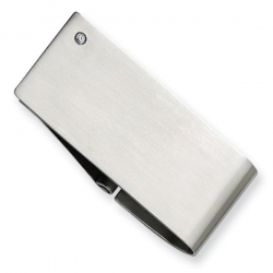 Stainless Steel Engravable Money Clip w  Diamond