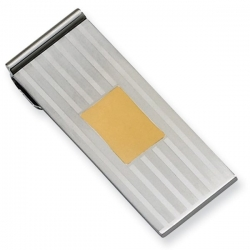 Stainless Steel Engravable Money Clip W  Gold Plating