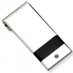 Stainless Steel Engravable Money Clip W  Cubic Zirconia