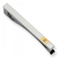 Stainless Steel Tie Bar W  24k Gold Plating   Diamond