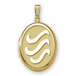 Solid 14k Yellow Gold  H2O  Oval  Locket