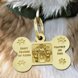 Saint Francis of Assisi    Protect My Dog  Dog Bone Pet Tag