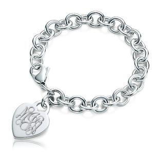 Tiffany Heart Bracelet >> Custom Engraved Sterling Silver Women's Tiffany Style Heart Bracelet with Lobster Claw - PG80180
