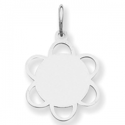14k White Gold Engravable Charm or Pendant