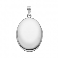 14k White Gold Oval  Plain   Picture Locket