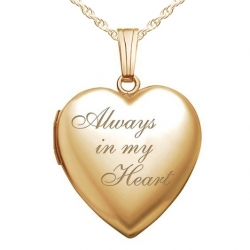 Solid 14K Yellow Gold  Always In My Heart  Locket