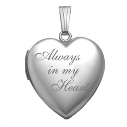 14K White Gold  Always in My Heart  Locket