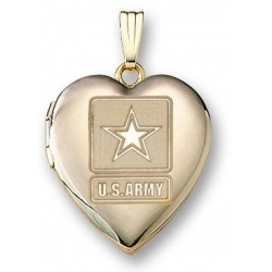 14k Yellow Gold Heart Army Picture Locket