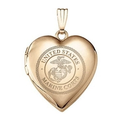14k Yellow Gold Heart Marine Corps Picture Locket
