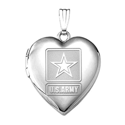 Sterling Silver Army Heart Locket