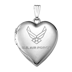 Sterling Silver Air Force Heart Locket
